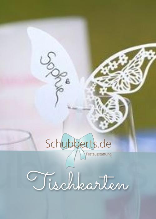 Tischkarte in Form eines Schmetterlings