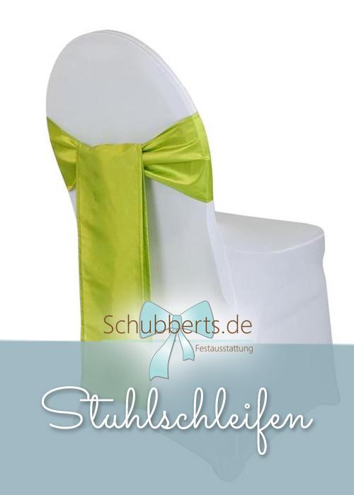 Stuhl mit apfelgrüner Stuhlschleife aus Satin für Hochzeitsdekoration Chemnitz
